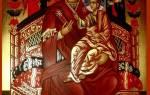 Дева мария восседает на троне. Всецарица побеждает болезни и колдовство